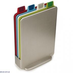 Набор Joseph Joseph Index Mini 4 доски 20.5x15 см + подставка Серебряная (60097)
