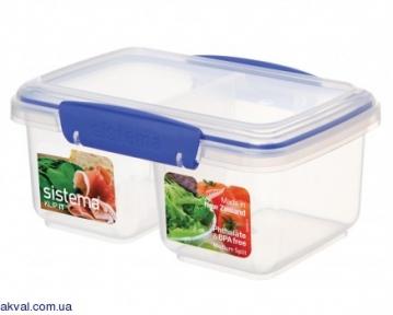 Контейнер пищевой для хранения с 2 отсеками SISTEMA KLIP IT 0,835 л(1620)