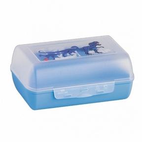 Харчовий контейнер прямокутний Emsa Variabolo Динозавр з перегородкою Синій (EM513795)