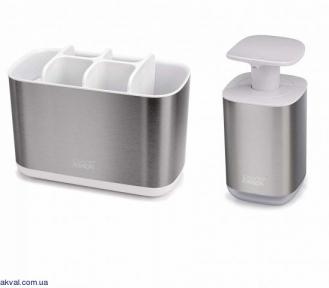 Набор: диспенсер для жидкого мыла и органайзер для зубных щеток Joseph Joseph SINK, серый (70551)
