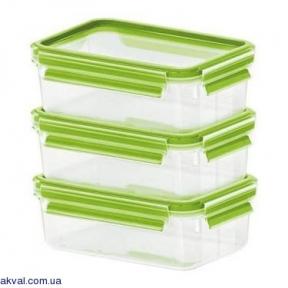 Набір прямокутних контейнерів Emsa Clip&Close 3D 550 мл 3 предмета (EM516416)